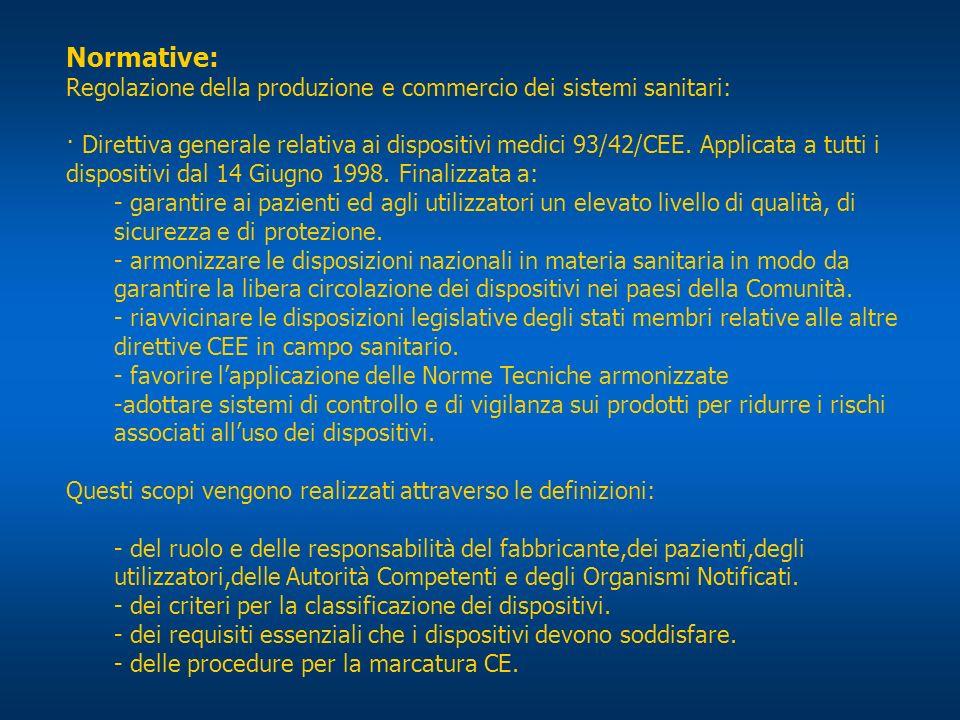 Normative: Regolazione della produzione e commercio dei sistemi sanitari: · Direttiva generale relativa ai dispositivi medici 93/42/CEE. Applicata a t