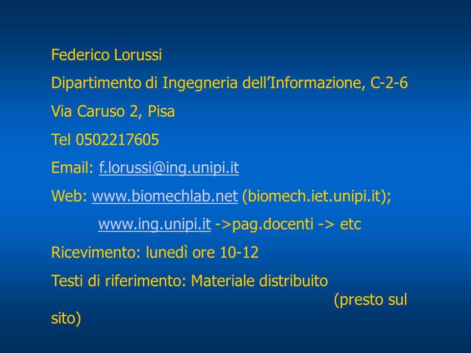 Federico Lorussi Dipartimento di Ingegneria dellInformazione, C-2-6 Via Caruso 2, Pisa Tel 0502217605 Email: f.lorussi@ing.unipi.itf.lorussi@ing.unipi.it Web: www.biomechlab.net (biomech.iet.unipi.it);www.biomechlab.net www.ing.unipi.itwww.ing.unipi.it ->pag.docenti -> etc Ricevimento: lunedì ore 10-12 Testi di riferimento: Materiale distribuito (presto sul sito)