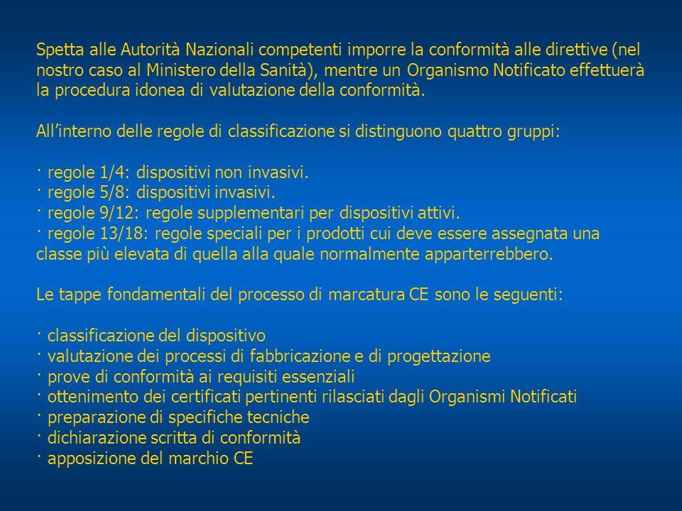 Spetta alle Autorità Nazionali competenti imporre la conformità alle direttive (nel nostro caso al Ministero della Sanità), mentre un Organismo Notifi