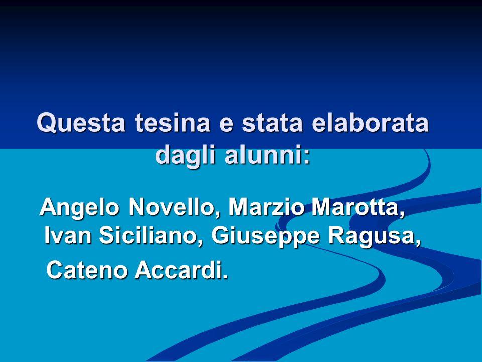 Questa tesina e stata elaborata dagli alunni: Angelo Novello, Marzio Marotta, Ivan Siciliano, Giuseppe Ragusa, Angelo Novello, Marzio Marotta, Ivan Siciliano, Giuseppe Ragusa, Cateno Accardi.