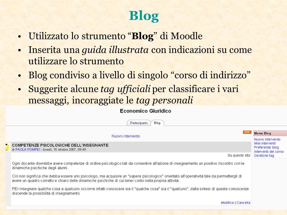 Blog Utilizzato lo strumento Blog di Moodle Inserita una guida illustrata con indicazioni su come utilizzare lo strumento Blog condiviso a livello di