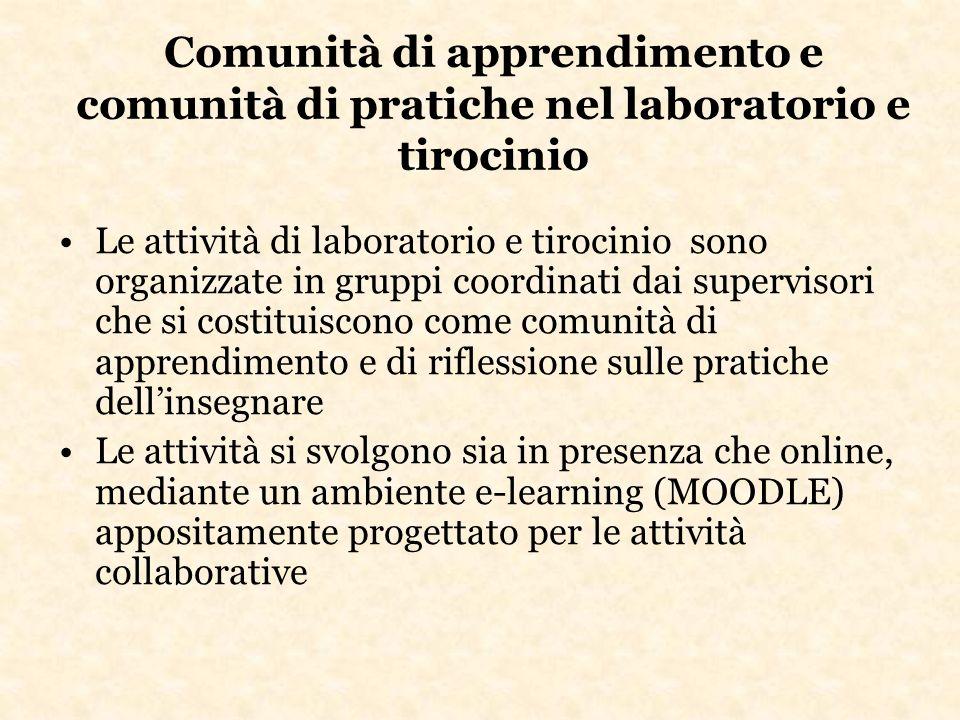 Comunità di apprendimento e comunità di pratiche nel laboratorio e tirocinio Le attività di laboratorio e tirocinio sono organizzate in gruppi coordin
