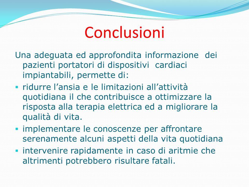 Conclusioni Una adeguata ed approfondita informazione dei pazienti portatori di dispositivi cardiaci impiantabili, permette di: ridurre lansia e le li