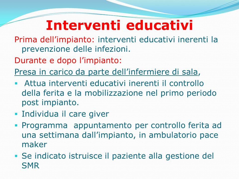 Interventi educativi Prima dellimpianto: interventi educativi inerenti la prevenzione delle infezioni. Durante e dopo limpianto: Presa in carico da pa