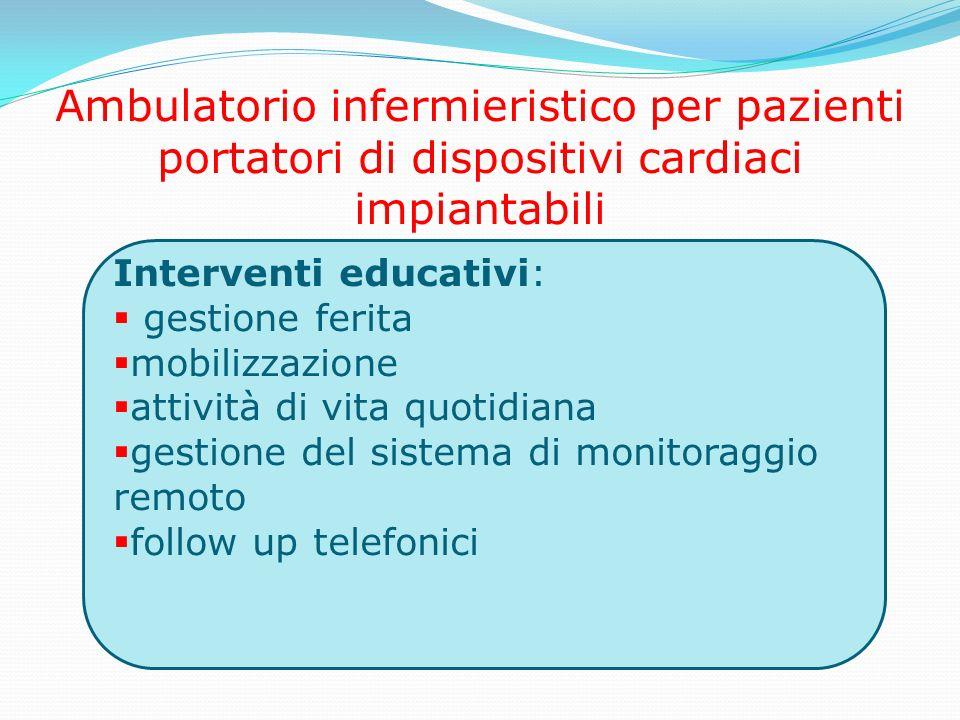 Ambulatorio infermieristico per pazienti portatori di dispositivi cardiaci impiantabili Interventi educativi: gestione ferita mobilizzazione attività