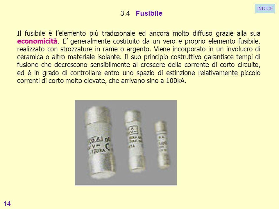 3.4 Fusibile Il fusibile è lelemento più tradizionale ed ancora molto diffuso grazie alla sua economicità. E generalmente costituito da un vero e prop