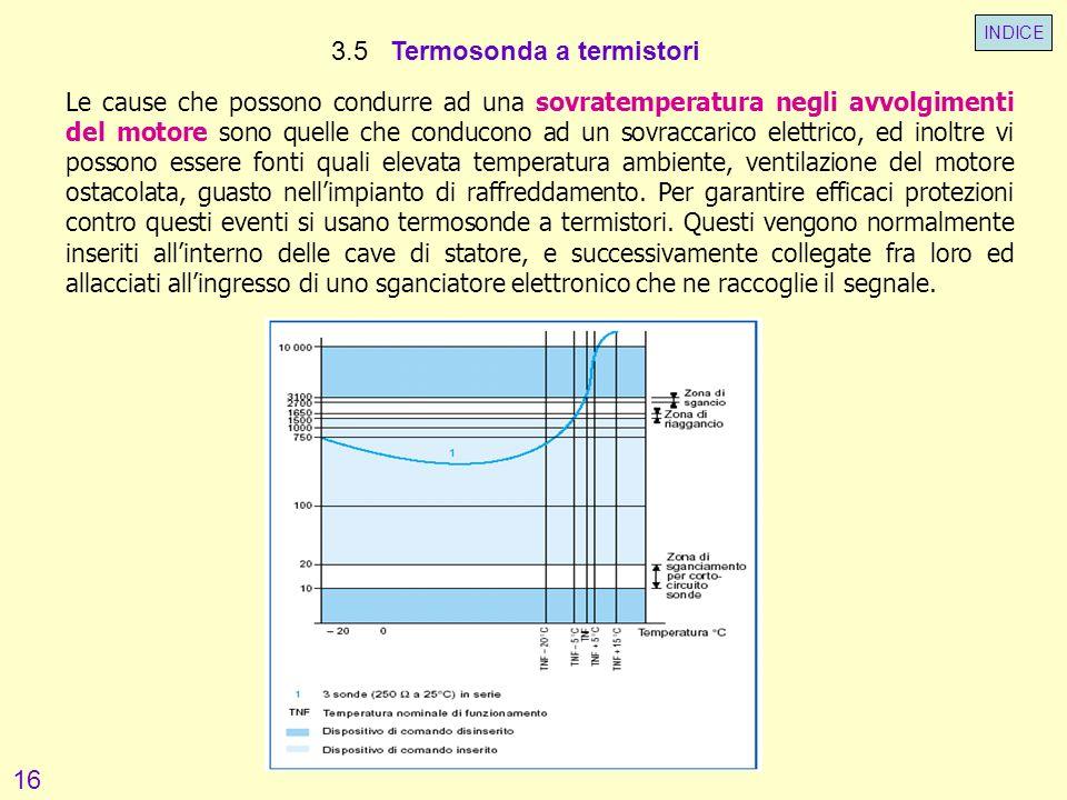 3.5 Termosonda a termistori Le cause che possono condurre ad una sovratemperatura negli avvolgimenti del motore sono quelle che conducono ad un sovrac