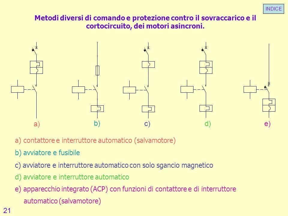 Metodi diversi di comando e protezione contro il sovraccarico e il cortocircuito, dei motori asincroni. a) a) contattore e interruttore automatico (sa