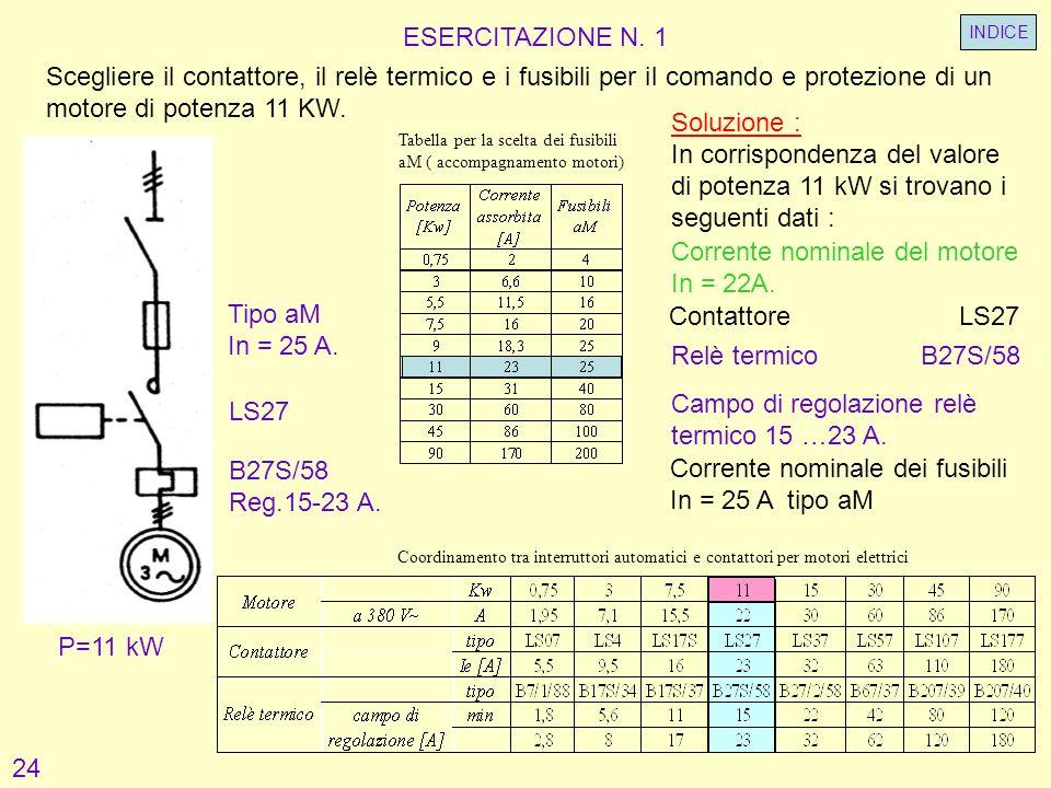 ESERCITAZIONE N. 1 LS27 Scegliere il contattore, il relè termico e i fusibili per il comando e protezione di un motore di potenza 11 KW. P=11 kW B27S/