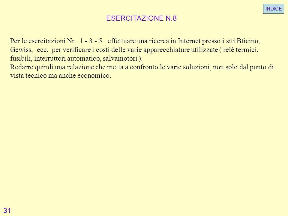 ESERCITAZIONE N.8 Per le esercitazioni Nr. 1 - 3 - 5 effettuare una ricerca in Internet presso i siti Bticino, Gewiss, ecc, per verificare i costi del