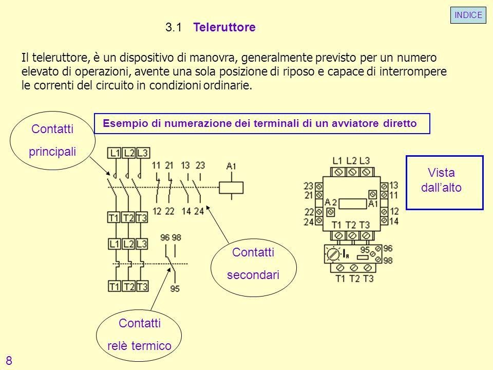 3.1 Teleruttore Il teleruttore, è un dispositivo di manovra, generalmente previsto per un numero elevato di operazioni, avente una sola posizione di r