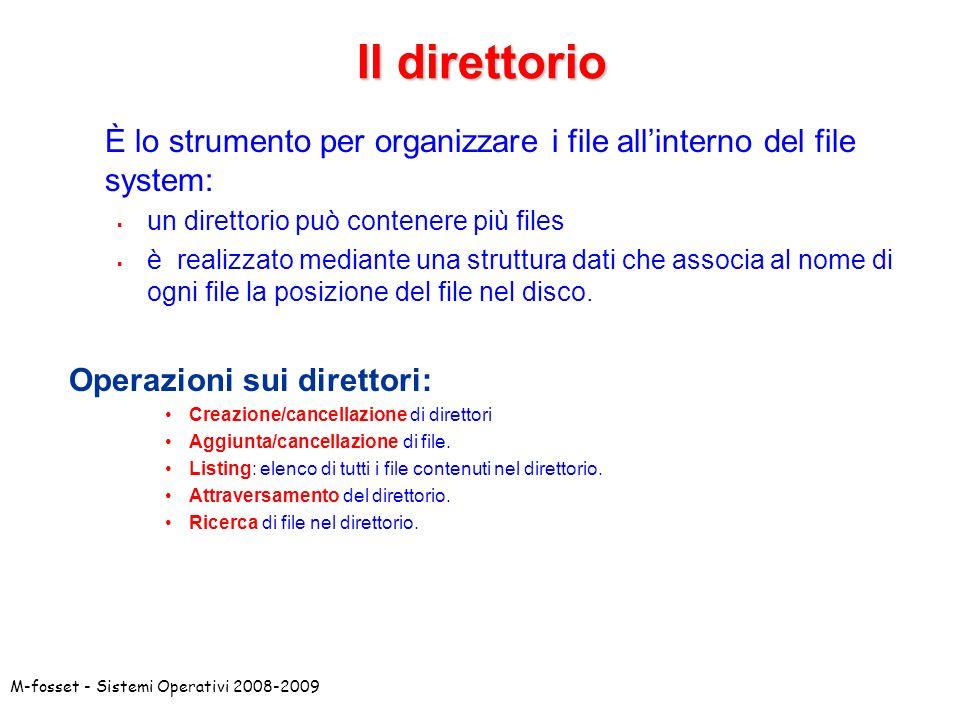 M-fosset - Sistemi Operativi 2008-2009 Il direttorio È lo strumento per organizzare i file allinterno del file system: un direttorio può contenere più