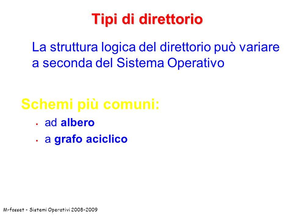 M-fosset - Sistemi Operativi 2008-2009 Tipi di direttorio La struttura logica del direttorio può variare a seconda del Sistema Operativo Schemi più co