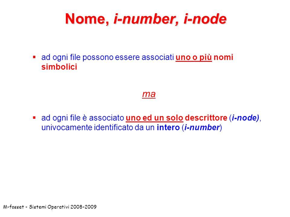M-fosset - Sistemi Operativi 2008-2009 Nome, i-number, i-node ad ogni file possono essere associati uno o più nomi simbolici ma ad ogni file è associa