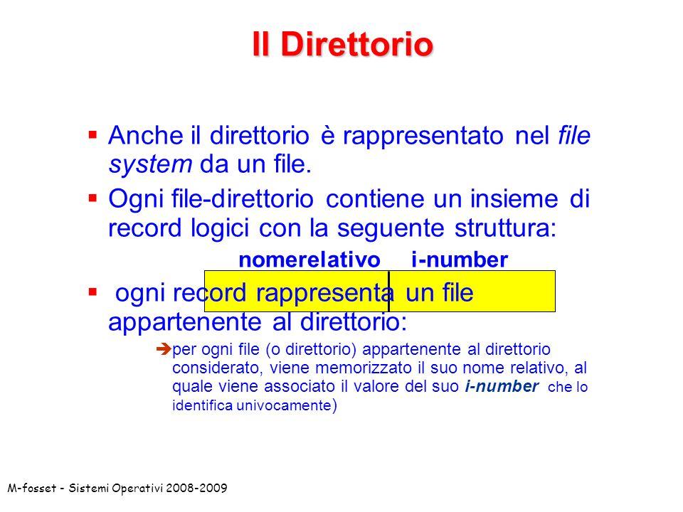 M-fosset - Sistemi Operativi 2008-2009 Anche il direttorio è rappresentato nel file system da un file. Ogni file-direttorio contiene un insieme di rec
