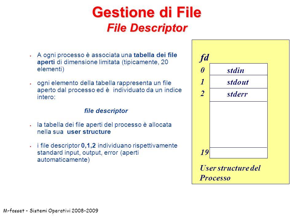 M-fosset - Sistemi Operativi 2008-2009 Gestione di File File Descriptor A ogni processo è associata una tabella dei file aperti di dimensione limitata
