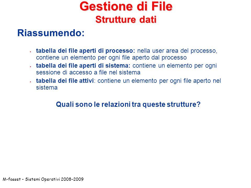 M-fosset - Sistemi Operativi 2008-2009 Gestione di File Strutture dati Riassumendo: tabella dei file aperti di processo: nella user area del processo,