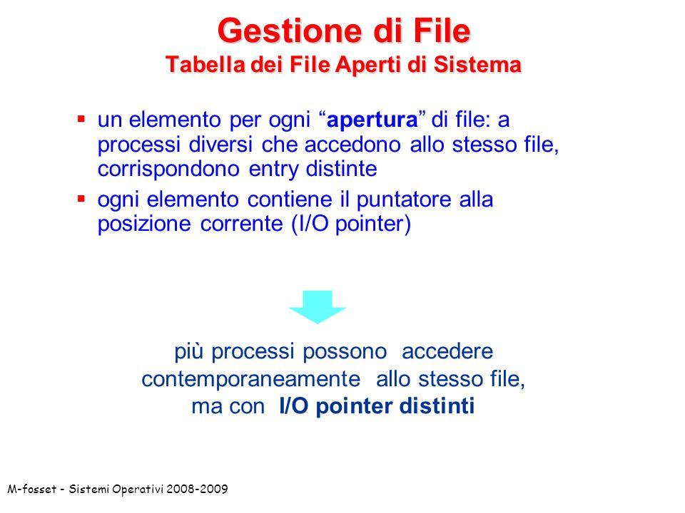 M-fosset - Sistemi Operativi 2008-2009 un elemento per ogni apertura di file: a processi diversi che accedono allo stesso file, corrispondono entry di