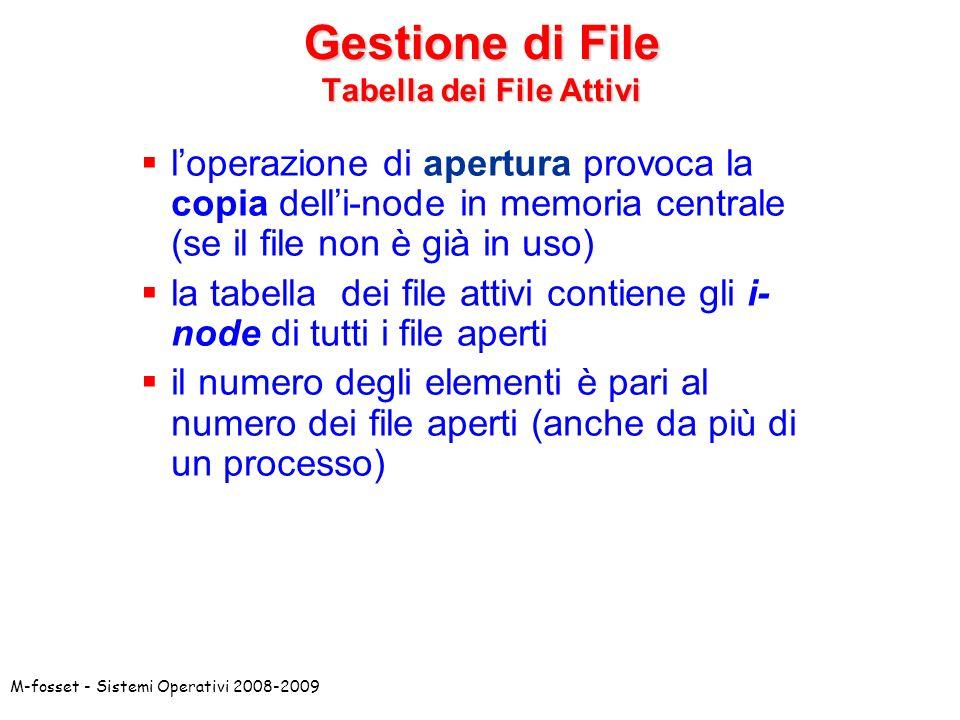 M-fosset - Sistemi Operativi 2008-2009 Gestione di File Tabella dei File Attivi loperazione di apertura provoca la copia delli-node in memoria central
