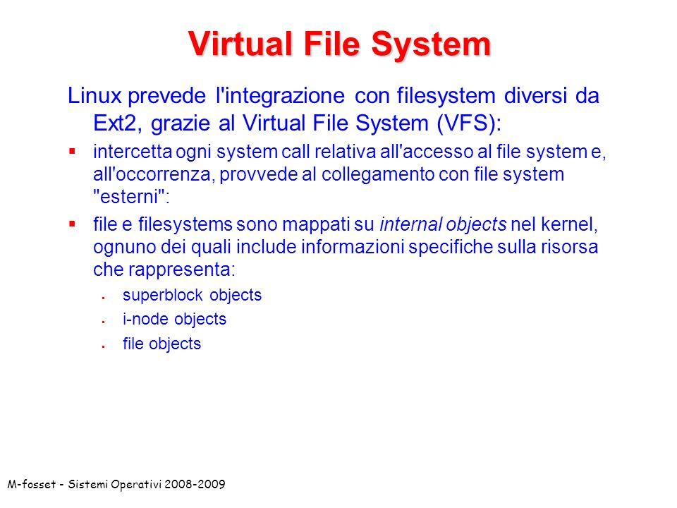 M-fosset - Sistemi Operativi 2008-2009 Virtual File System Linux prevede l'integrazione con filesystem diversi da Ext2, grazie al Virtual File System