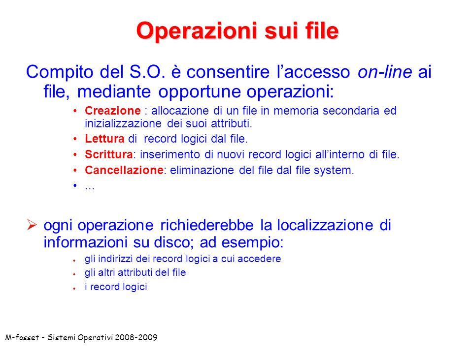 M-fosset - Sistemi Operativi 2008-2009 Operazioni sui file Compito del S.O. è consentire laccesso on-line ai file, mediante opportune operazioni: Crea
