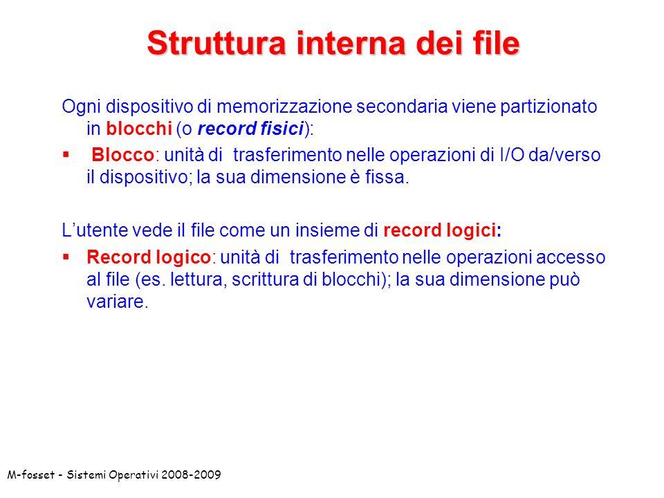 M-fosset - Sistemi Operativi 2008-2009 Ogni dispositivo di memorizzazione secondaria viene partizionato in blocchi (o record fisici): Blocco: unità di