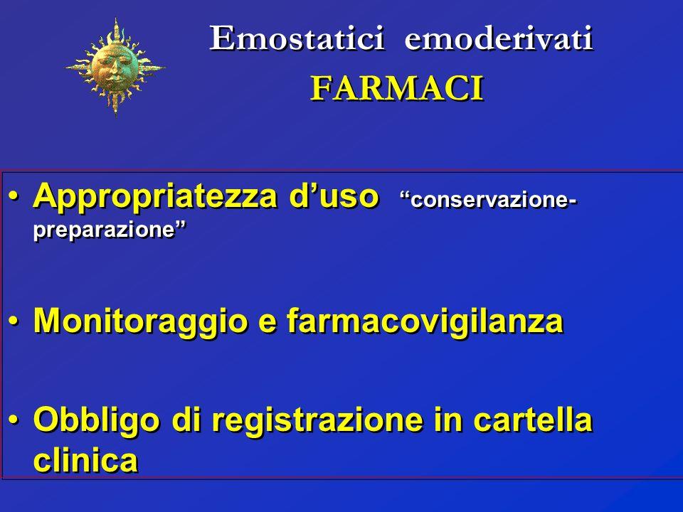 Emostatici emoderivati FARMACI Appropriatezza duso conservazione- preparazione Monitoraggio e farmacovigilanza Obbligo di registrazione in cartella cl