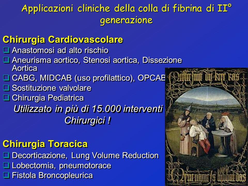 Applicazioni cliniche della colla di fibrina di II° generazione Chirurgia Cardiovascolare Anastomosi ad alto rischio Aneurisma aortico, Stenosi aortic