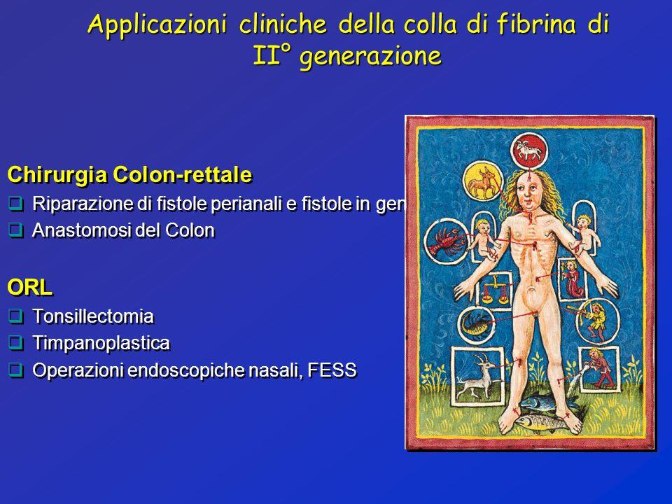 Applicazioni cliniche della colla di fibrina di II° generazione Chirurgia Colon-rettale Riparazione di fistole perianali e fistole in genere Anastomos