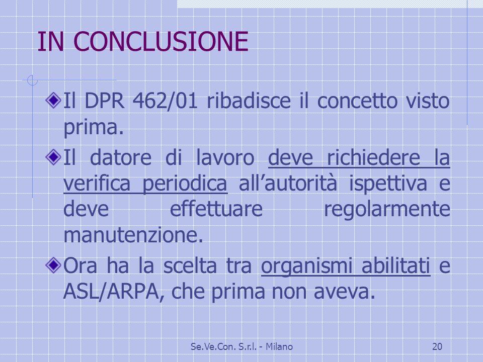 Se.Ve.Con.S.r.l. - Milano20 IN CONCLUSIONE Il DPR 462/01 ribadisce il concetto visto prima.
