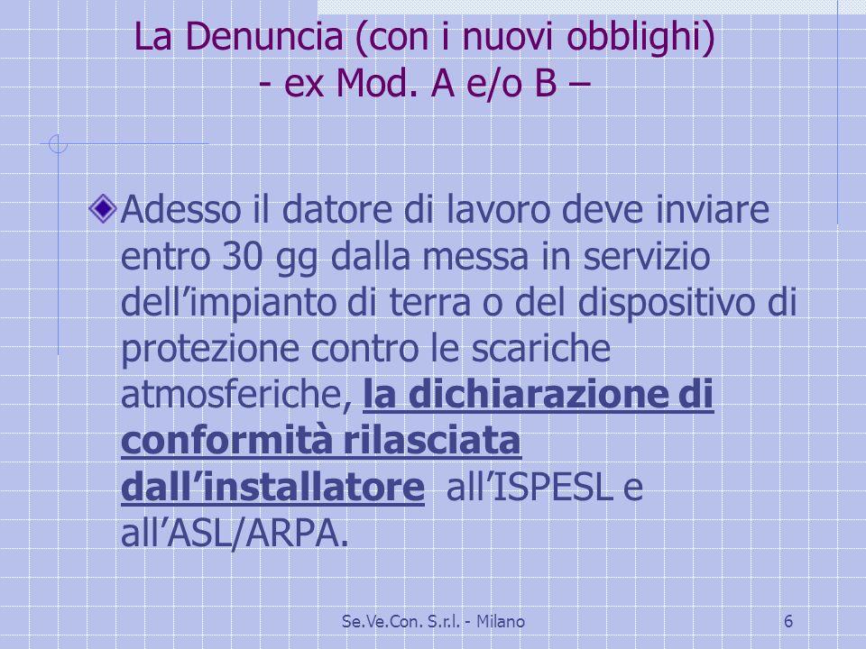 Se.Ve.Con.S.r.l. - Milano6 La Denuncia (con i nuovi obblighi) - ex Mod.