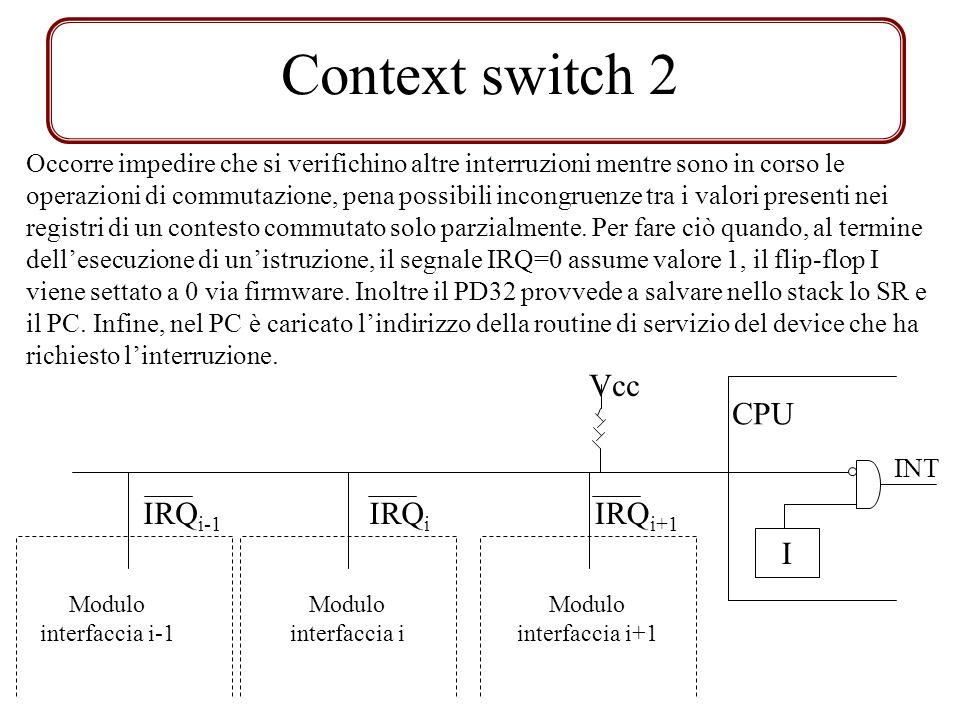 Context switch 2 Occorre impedire che si verifichino altre interruzioni mentre sono in corso le operazioni di commutazione, pena possibili incongruenze tra i valori presenti nei registri di un contesto commutato solo parzialmente.