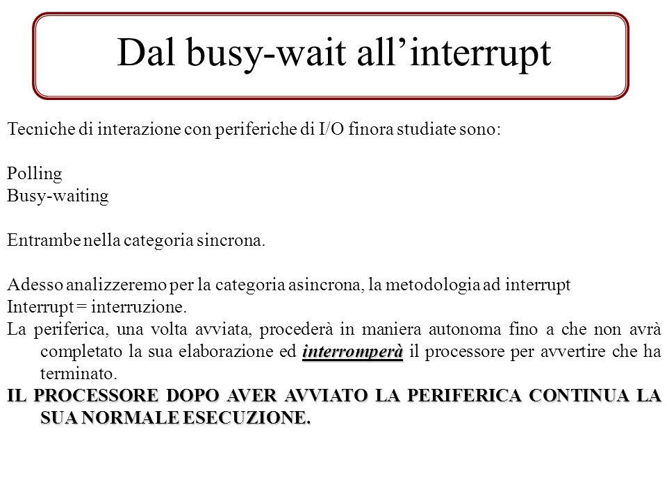Dal busy-wait allinterrupt Tecniche di interazione con periferiche di I/O finora studiate sono: Polling Busy-waiting Entrambe nella categoria sincrona.
