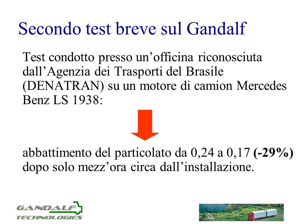 Secondo test breve sul Gandalf Test condotto presso unofficina riconosciuta dallAgenzia dei Trasporti del Brasile (DENATRAN) su un motore di camion Me