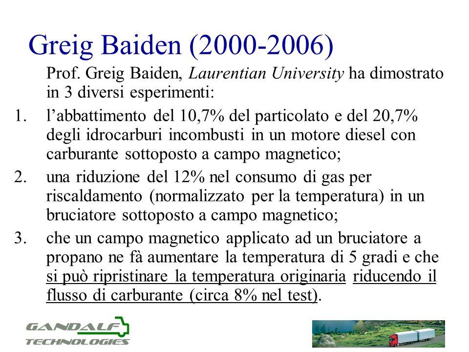 Greig Baiden (2000-2006) Prof. Greig Baiden, Laurentian University ha dimostrato in 3 diversi esperimenti: 1.labbattimento del 10,7% del particolato e