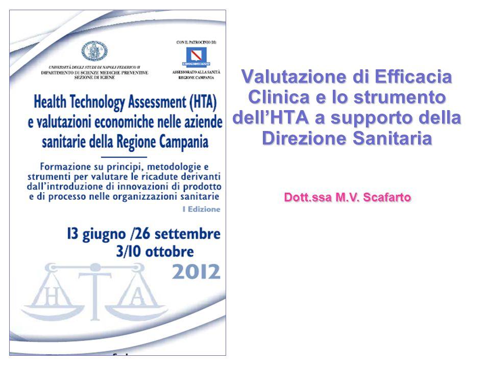 Valutazione di Efficacia Clinica e lo strumento dellHTA a supporto della Direzione Sanitaria Dott.ssa M.V. Scafarto