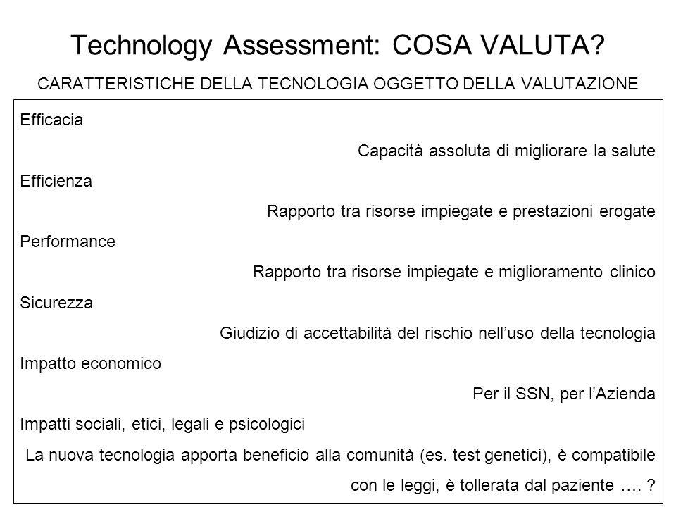 Technology Assessment: COSA VALUTA? CARATTERISTICHE DELLA TECNOLOGIA OGGETTO DELLA VALUTAZIONE Efficacia Capacità assoluta di migliorare la salute Eff