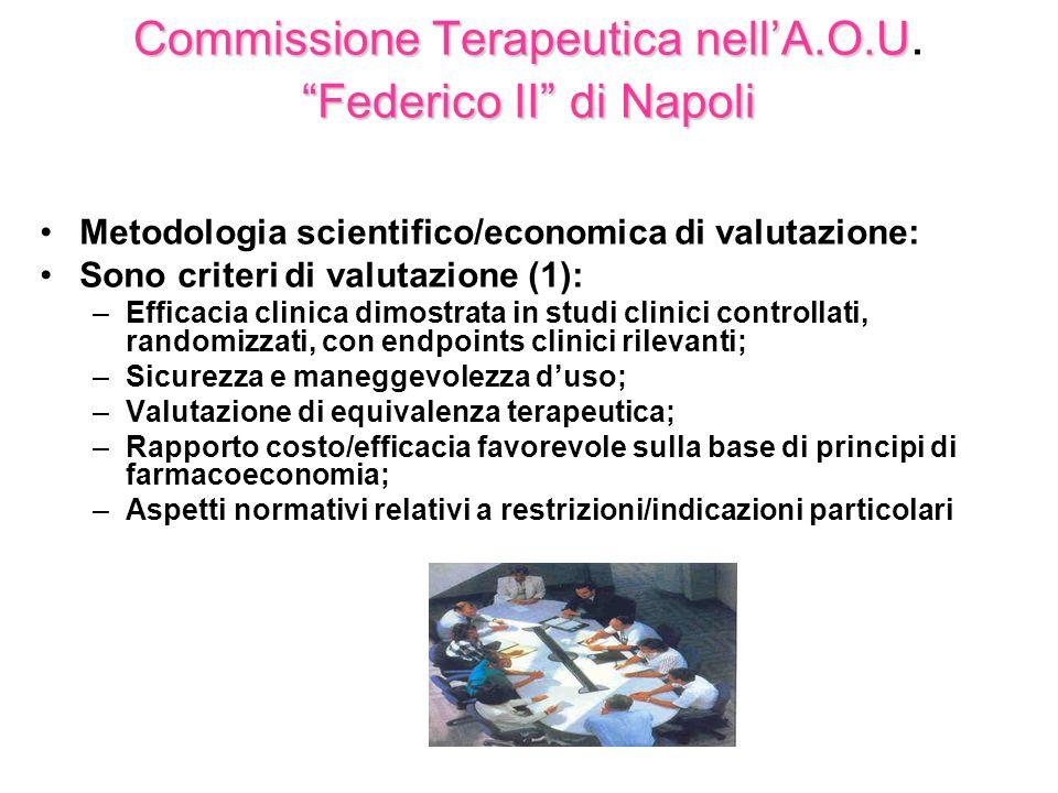 CommissioneTerapeuticanellA.O.U Federico IIdiNapoli Commissione Terapeutica nellA.O.U. Federico II di Napoli Metodologia scientifico/economica di valu