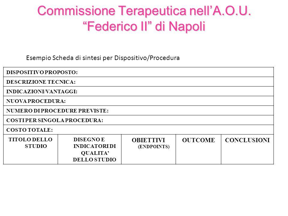 Commissione Terapeutica nellA.O.U. Federico II di Napoli DISPOSITIVO PROPOSTO: DESCRIZIONE TECNICA: INDICAZIONI/VANTAGGI: NUOVA PROCEDURA: NUMERO DI P