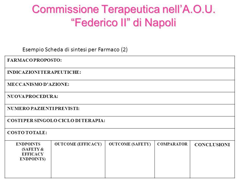 Commissione Terapeutica nellA.O.U. Federico II di Napoli Esempio Scheda di sintesi per Farmaco (2) FARMACO PROPOSTO: INDICAZIONI TERAPEUTICHE: MECCANI