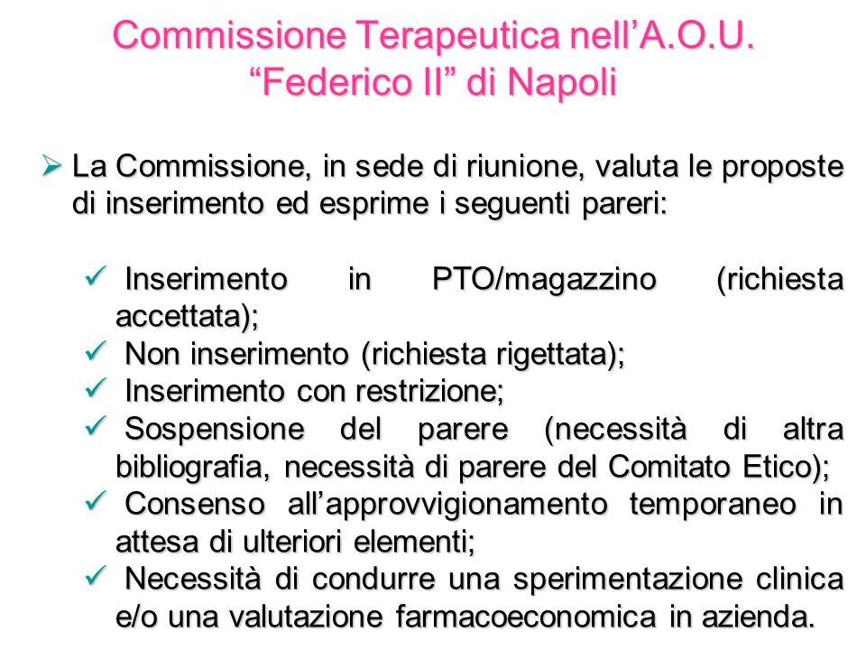 Commissione Terapeutica nellA.O.U. Federico II di Napoli La Commissione, in sede di riunione, valuta le proposte di inserimento ed esprime i seguenti