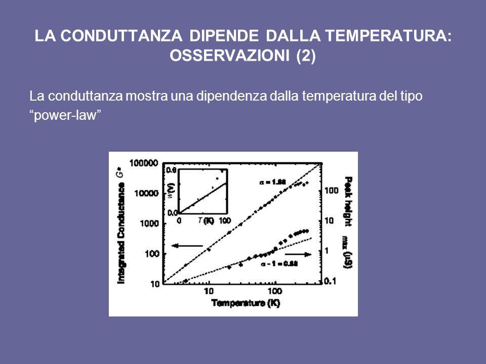 LA CONDUTTANZA DIPENDE DALLA TEMPERATURA: OSSERVAZIONI (2) La conduttanza mostra una dipendenza dalla temperatura del tipo power-law