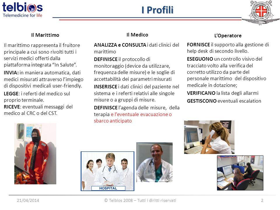 Medical Devices 21/04/2014© Telbios 2008 – Tutti i diritti riservati3 La caratteristica principale dei dispositivi medici utilizzati è rappresentata dalla possibilità di trasferire via seriale (RS-232) le misure acquisite verso il Device Gateway in maniera del tutto automatica.