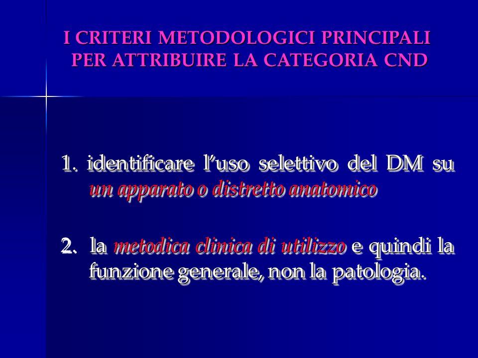 1. identificare luso selettivo del DM su un apparato o distretto anatomico la metodica clinica di utilizzo e quindi la funzione generale, non la patol