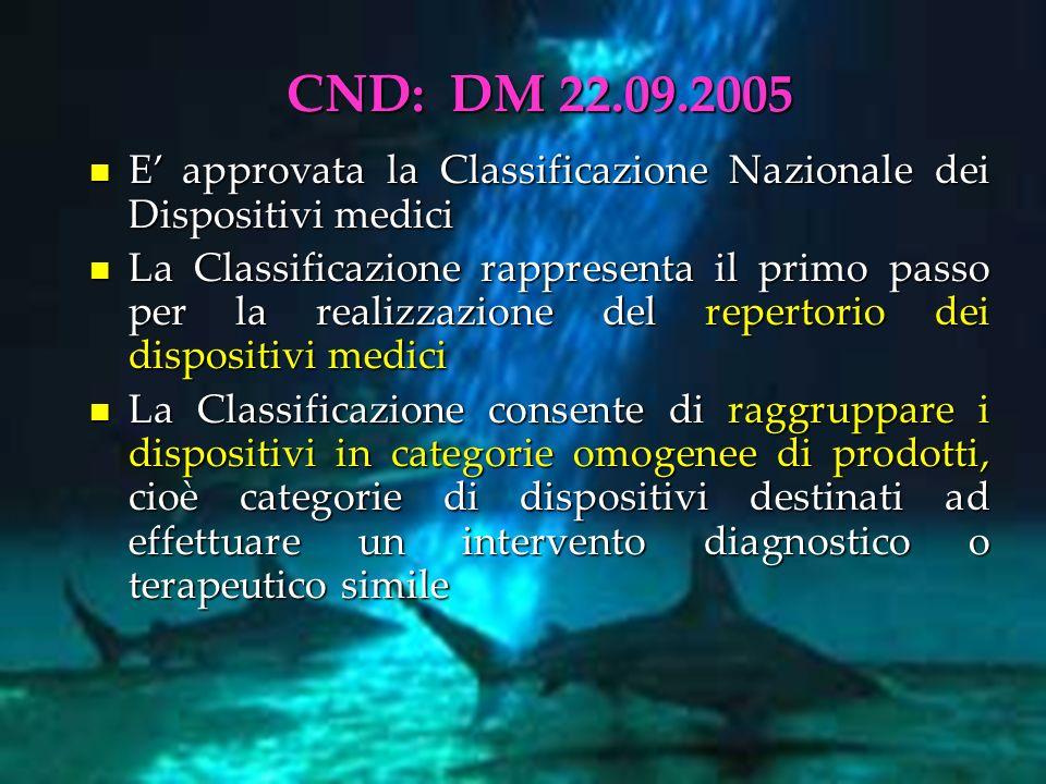 CND: DM 22.09.2005 E approvata la Classificazione Nazionale dei Dispositivi medici E approvata la Classificazione Nazionale dei Dispositivi medici La