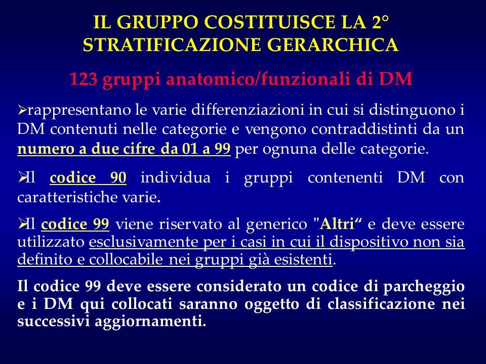 IL GRUPPO COSTITUISCE LA 2° STRATIFICAZIONE GERARCHICA 123 gruppi anatomico/funzionali di DM rappresentano le varie differenziazioni in cui si disting