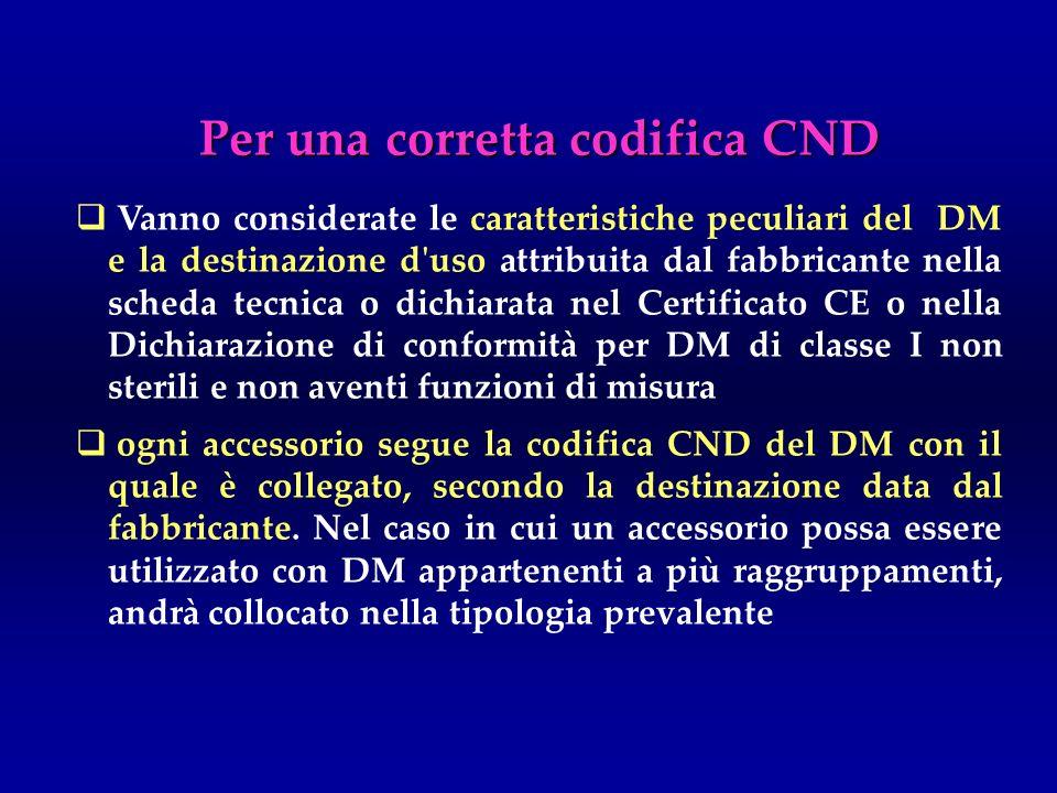 Per una corretta codifica CND Vanno considerate le caratteristiche peculiari del DM e la destinazione d'uso attribuita dal fabbricante nella scheda te