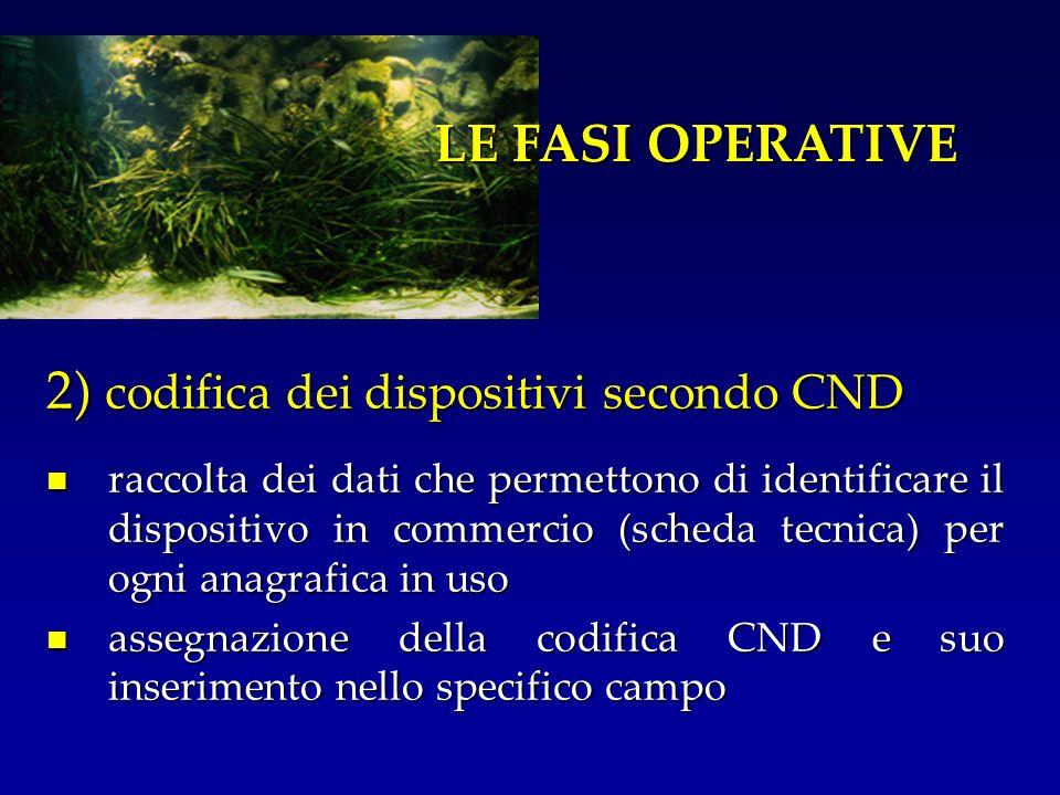 2) codifica dei dispositivi secondo CND raccolta dei dati che permettono di identificare il dispositivo in commercio (scheda tecnica) per ogni anagraf