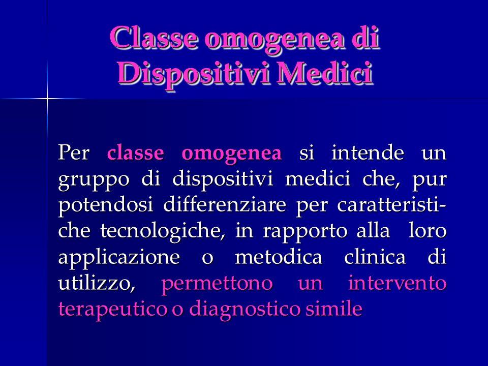 Classe omogenea di Dispositivi Medici Per classe omogenea si intende un gruppo di dispositivi medici che, pur potendosi differenziare per caratteristi