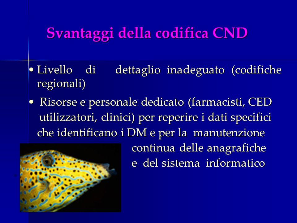Svantaggi della codifica CND Livello di dettaglio inadeguato (codifiche regionali)Livello di dettaglio inadeguato (codifiche regionali) Risorse e pers